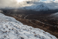 On the Edge - Beinn a'Chrulaiste Feb 2019 (GOR44Photographic@Gmail.com) Tags: beinnachrulaiste glen coe etive a82 scotland snow road river hills highlands mountains argyll rannochmoor munro corbett gor44 sunlight shadows cloud mist creise meallabhuirdh panasonic olympus 1240mmf28 g9