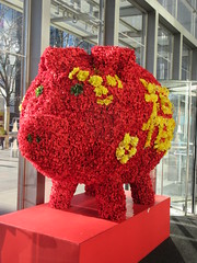 Red Floral Pig Lobby of the Time Warner Center NYC 2325 (Brechtbug) Tags: 2019 red floral pig lobby time warner center nyc 10 columbus circle new york city flower shaped bouquet piggy bank like wild boar flowers decor decoration standee
