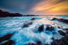 Sharrow Rush (Timothy Gilbert) Tags: wideangle sunset lumix laowacompactdreamer75mmf20 boulders clouds beach freathy panasonic m43 microfourthirds microfournerds sharrowpoint gx8 rocks coast whitsandbay cornwall