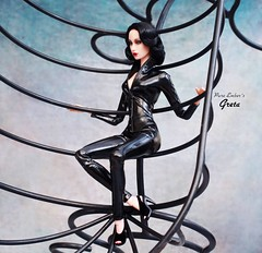 Spider (pure_embers) Tags: pure embers doll dolls uk pureembers photography laura england superdoll sybarite onyx greta embersgreta portrait 40s style dita classic elegant fashion collector outfit black pvc catsuit machine matrix