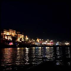 Ganges at Night (bandarji) Tags: india vacation family ganges varanasi boat night aarti