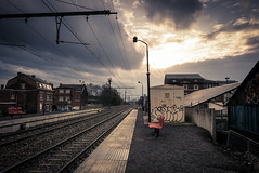 Between 2 cities (Gilderic Photography) Tags: flemalle belgium belgique station gare train railway city urban sky clouds light rainy alone solitude