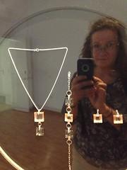 Glass based Jewellery,  Glass Museum, La Granja de San Ildefonso, Segovia (d.kevan) Tags: glassmuseum lagranjadesanildefonso exhibits segovia spain glass displaycabinets jewellery people genoveva photographer phone