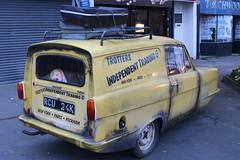 Del Boy is Here, 1 (doojohn701) Tags: 1960s tv show yellow reliant supervan advertising tribute sex suitcases dirty reflection windows shutter fibreglass 1980s peckham neweltham uk vintage retro