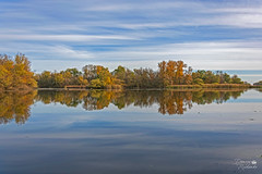 Осінній ландшафт Хортиці (ucrainis) Tags: autumn zaporizhzhia ukraine dnieper landscape river riverscape nature trees reflection sky clouds colorful beautiful horizon