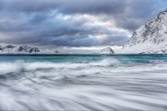 Haukland Beach, Lofoten, Norway (MelvinNicholsonPhotography) Tags: lofoten haukland hauklandbeach mountains winter snow ocean waves norway beach