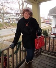 In Travelling Mode (Laurette Victoria) Tags: porch woman hat purse gloves leggings coat laurette