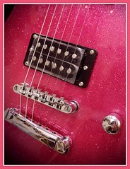pink noise (MoparMadman63) Tags: guitar pink glitter framed abstract closeup object bridge string instrument music sound knob