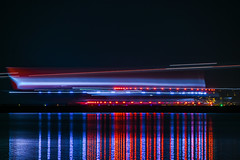 qantas flight qf 50 taxis for departure to melbourne (pbo31) Tags: bayarea california nikon d810 color night dark black january 2019 boury pbo31 reflection lightstream motion traffic sanfranciscointernational sfo airport burlingame sanmateocounty airline plane aviation travel runway taxi blur flight melbourne qantas boeing 787