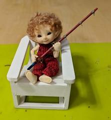 tumnus approves his new rod (onebluestocking) Tags: realpuki pupu tumnus fishingrod fishingpole miniatureprops