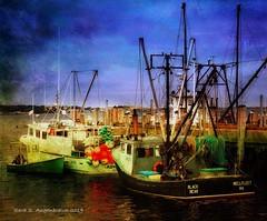 Fishing Boats, MacMillan Wharf, Provincetown, MA (augenbrauns) Tags: formulas snapseed distressedfx olympusomdem1ii sky blue massachusetts wharf capecod ptown provincetown macmillanwharf boats fishingboats