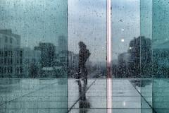 Une journée pluvieuse // A rainy day (erichudson78) Tags: france iledefrance hautsdeseine ladéfense pluie rain paysageurbain urbanlandscape reflection reflets silhouette canonef24105mmf4lisusm canoneos6d drops water eau gouttes vitre glass