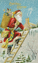 Christmas card with Santa delivering gifts (Free Public Domain Illustrations by rawpixel) Tags: jubjang pdproject20 pdproject20batch44 pdproject22 vector pdproject20batch44x antique art arts artwork bag card childhood chimney christmas christmascard climbing drawing fantasy goods greeting happy historic historical history holiday home house illustration kid ladder magical man merry merrychristmas moustache name nicholas painting people postcard presents print publicdomain red retro roof santa santaclaus season seasonal snow snowy toys traditional vintage wall winter xmas