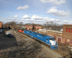 """Empty coal train """"BOPW"""" with GMTX #9014 leading passes the old Clinton, MA train station (Houghton's RailImages) Tags: pw coaltrain clinton bopw gmtx depot station massachusetts usa providenceworcester railroad railway emd"""