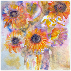 2019/ Watercolour: ...let the sunshine in your heart... (Nadia Minic) Tags: sunflowers sun hope vase letthesunshineinyourheart song lyrics art watercolour yellow blue pink orange painting nadiaminic luxembourg