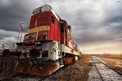Out of line (dim.pagiantzas | photography) Tags: train machine rails railroad railings wagon transportation rust textures iron metal light ambient sunset sky clouds cloudy landscape nature field plants colors colorful photography atmospheric
