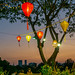 Hanging Lanterns with beautiful Sky Colors in the Background