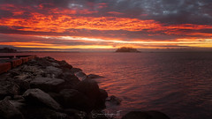 Fiery Dawn (Simmie | Reagor - Simmulated.com) Tags: connecticut connecticutphotographer d750 dawn december landscapephotographer longislandsound longexposure madison naturephotographer nikon sunrise tuxisisland westwharfbeach winter digital rockybeach water unitedstates us