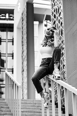 Andrea NB-21 (Willy_G91) Tags: vert andrea model fashion portrait girl woman pretty beautiful cute gorgeous sexy stunning outside outdoors nikon d610 photoshoot colour duba black white noir blanc noirblanc blackwhite bnw