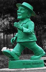 Ampelmännchen (Anthony Mark Images) Tags: ampelmännchen ampelmann pedestriansignal walksignal eastgermandesign berlin germany deutschland blackandwhite monochrome selectivecolour green go flickrclickx nikon d850 ottmarhörl sculpture 25jahredeutscheeinheit