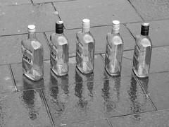 Is a Drunk Seeing Double or a Reflection B&W (zeevveez) Tags: zeevveez zeevbarkan canon זאבברקן bottle alcohol jaffastreet bw