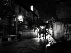 One Night in Kyoto (明遊快) Tags: bw monochrome street alley travel night cityscape bridge lights kyoto japan nightscape urban tourist 巽橋 祇園 winter 京都 happyplanet asiafavorites