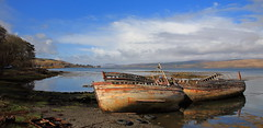 Salen Boats (captures.in.time) Tags: mull scotland salen fishing fishingboats boat net sail wreck wood abandoned fish sea bay spring summer sun beach coast coastline hills mountains seaside island water sky canoe visitscotland highlands islands landscape landscapephotography photo photography