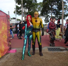Mera and Thawne (Sconderson Cosplay) Tags: supanova melbourne showgrounds april 2019 cosplay superhero saturday eobard thawne reverse flash supervillain dc comics arrowverse mera queen atlantis aquaman
