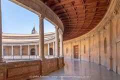 The Palace of Charles V, The Alhambra, Granada (john@johnrobertsimages.co.uk) Tags: stone alhambra arch building old andalusia andalucia pillar granada floor spain palace travel tower outdoors charles column tourism castle architecture europeanunion fortification outside es