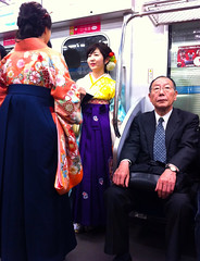 Undeground Tokyo commute (Claudia1967) Tags: japan elegance traditional dress subway commute tokyo claudia1967 colorful colour candid underground tube madeinjapan