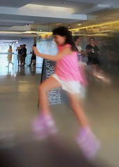In motion (Mariasme) Tags: child pink motionblur leap energy