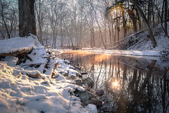 Mingo Morning Reflections (benpsut) Tags: dawn mingocreek mingocreekcountypark snow winter creek mingo morning reflection stream sun sunstreak