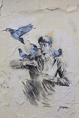 Agrume_5300 place de Ménilmontant Paris 20 (meuh1246) Tags: streetart paris paris20 belleville agrume placedeménilmontant animaux oiseau pigeon
