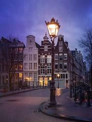 Illuminate (alowlandr) Tags: bridge mextures city canalhouse nopeople lamp street illuminated amsterdam