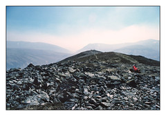 Back o' beyond (david.hayes77) Tags: cumbria lakeland lakedistrict 1987 greatcalva karrimorhotice30 peakbagging skiddaw mountains summit contrejour intothelight backlight landscape wideopenspaces fells footpath trail k25 kodachrome25 redrucksack colourpop