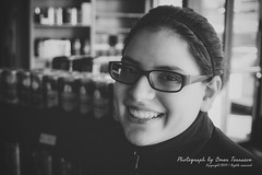 Daughter - 516 (oterrason) Tags: daughter smile happy coffeeshop cafe espresso leica panasonic summiluxdg25mmf14asph lumixdmcgm5 blackandwhite bw monochrome monochromatic portrait candid