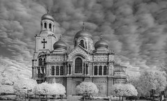 Infrared  B&W Cathedral in Varna- (Tomato BG) Tags: infrared bw 720nm nikon d5100 converted landscape cathedral sky architecture