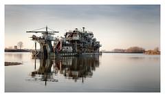 sand & gravel (rcfed) Tags: canon digital machine ship sand gravel sky water reflection landscape industrial