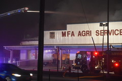 Fire - MFA Agri Services (Adventurer Dustin Holmes) Tags: firefighting fire mfa mfaagriservices lacledecounty lebanonmo lebanon lebanonmissouri missouri emergency event events news photography structure business building night february 2019 downtown smoke smoky smokey lowlight firedept firedepartment fireengine firetruck responders firstresponders emergencyvehicle emergencyvehicles vehicle vehicles laddertruck firehydrant firefighter people flames outdoor burned burning firefighters truevalue damage damaged destroyed