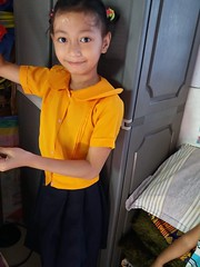 portrait in school uniform (ghostgirl_Annver) Tags: asia asian girl annver teen preteen child kid daughter sister family portrait school uniform yellow
