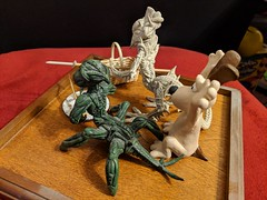 Picnic Robbery Protection - (3x Original Sculpts) (tend2it) Tags: sculpey clay sculpture scifi science fiction biped quadped arthropod gromit dog wallace claymation weapons picnic basket plate turtle