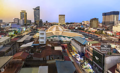 Cityscape of Phnom Penh [KH] (ta92310) Tags: travel cambodge cambodia khmer winter hiver 2019 history histoire architecture tsar marche market central thmay downtown phnompenh 1937 indochine cityscape landscape paysage city bluehour longexposure