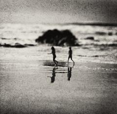 The people of sea and sand (Zeb Andrews) Tags: hasselbladflexbody rolleiretro80s oregon oregoncoast film mediumformat lincolncity pacificnorthwest pacificocean blackwhite tiltshift landscape