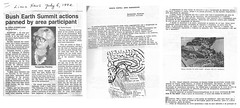 My bike trip booklet is part of things brought to 1992 Earth Summit in Brasil.  Article in newspaper of Lima, Ohio where one of the participants of an informal action around that conference was from. (theslowlane) Tags: articlesiamin text 1992