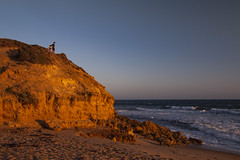 Sunset cliffs (Greenstone Girl) Tags: australia sunset pointaddis beach sand water sky blue gulls yellow sunrise headland