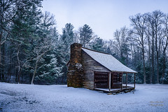 "Cold Carter Cabin (Thanks for 1,000,000+ views) Tags: gsmnp landscape fx outdoor f28 24mm d750 nikon copyright black blue green tree lightroom diffused light shade natural depth field pictures winter 2018 grass escape fairytale wonderland forest ""natural light"" photographer golden hour travel prime rock covered moss loop road pioneers settlers frame full cove cades park national mountains smoky great cabin shields carter"