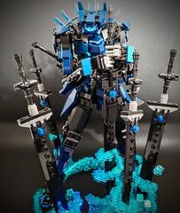 Soren, master of blades. (ZephyrChaos) Tags: lego mecha mech fantasy photograph effects moc blue legomech sword magic