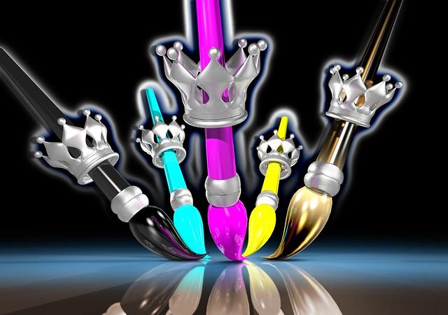 Обои кисти, короны, краска, разноцветный картинки на рабочий стол, фото скачать бесплатно