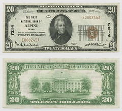 United States $20.00 (twenty dollars) national currency (SMU Libraries Digital Collections) Tags: texas money national us united states currency paper banks notes note banknote banknotes chartered bank banking brewster brewstercounty alpine