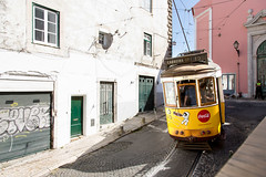 Trolley _7737 (hkoons) Tags: officebuildings peoplemover trolleycar capital city europe lisbon people portugal alley alleyway architecture art artist building buildings cables car cityscape conveyance electricity graffiti green mobile motion offices outdoors outside paint public rail rentals residence scribble shops spraycan street streetcar tenancy tenants town tracks tram transportation trolley urban vandal vandalize vehicle